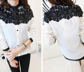Crochet Overlay Shirt - White
